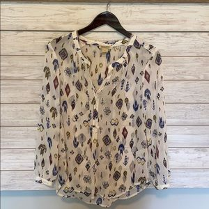 Luckybrand White Patterned Blouse